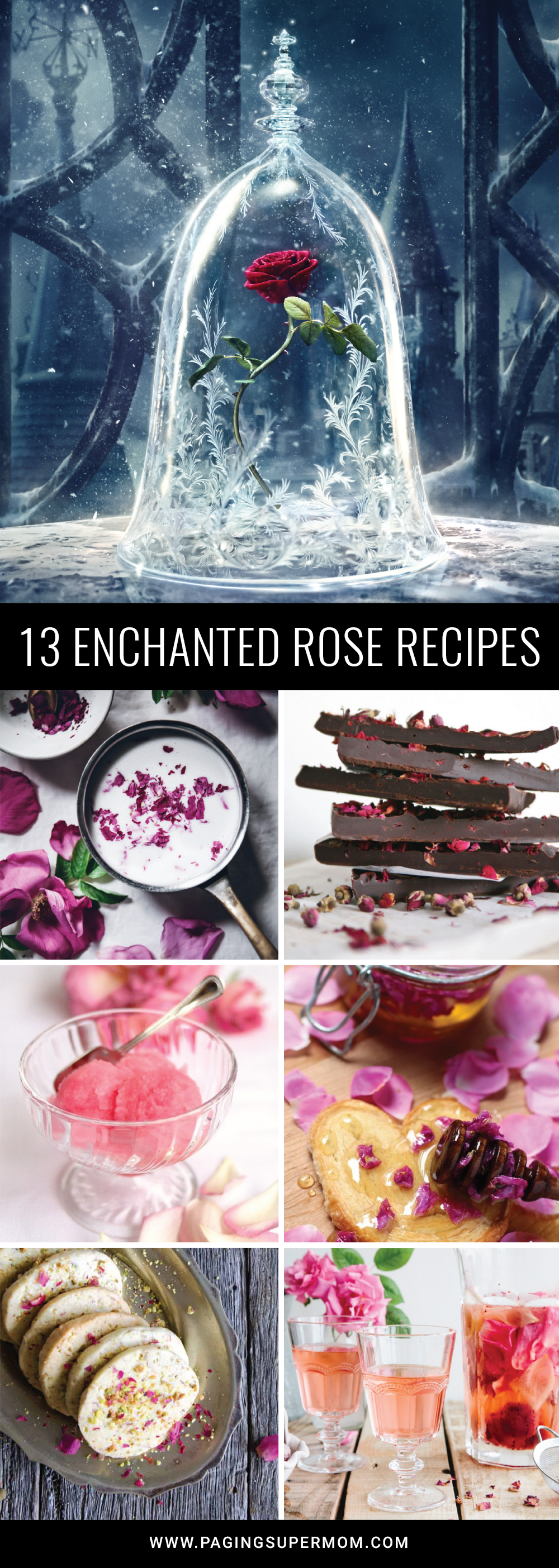 Round up of beautiful Rose Recipes inspired by Beauty & the Beast via @PagingSupermom
