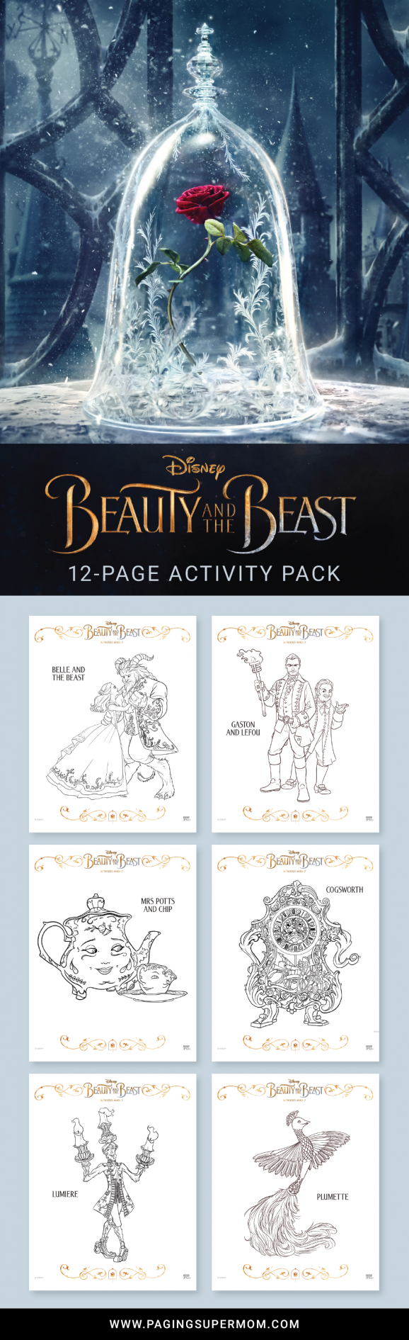 Free Printable Beauty And The Beast Coloring Pages Other Fun Activities Including A Full