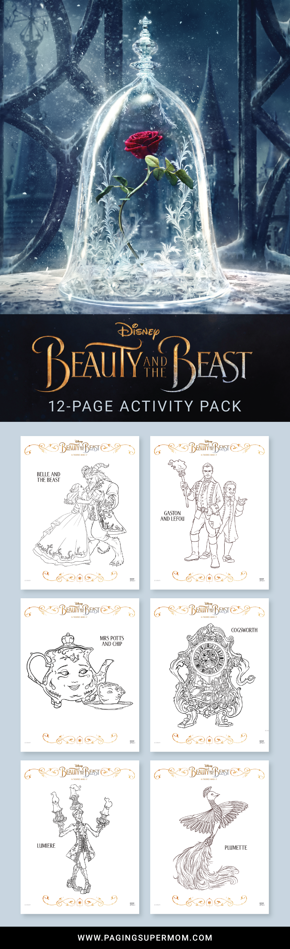 free printable beauty and the beast coloring pages paging supermom