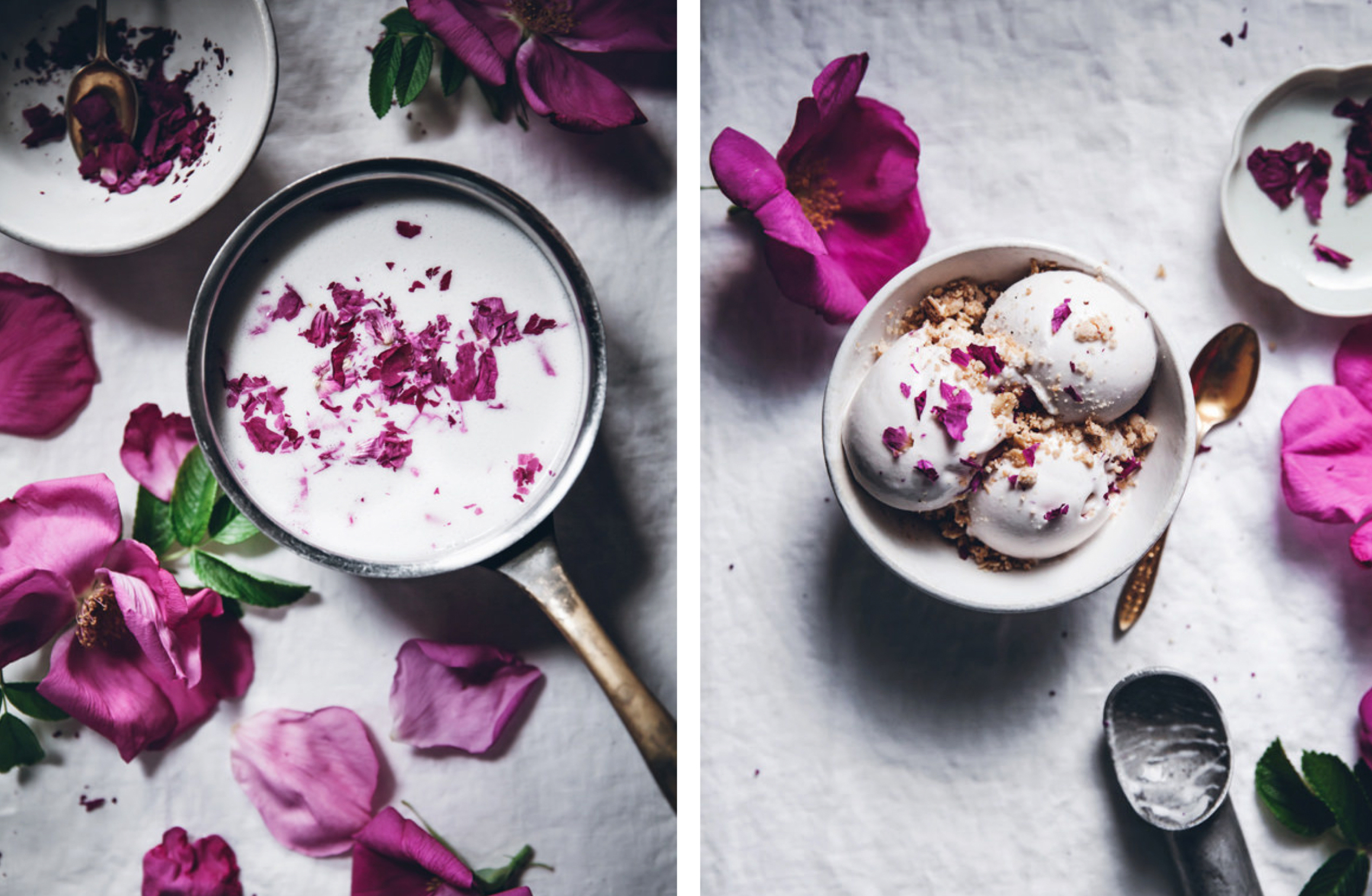 Vegan Rose Petal Ice Cream - the Round Up of Rose Recipes via @PagingSupermom