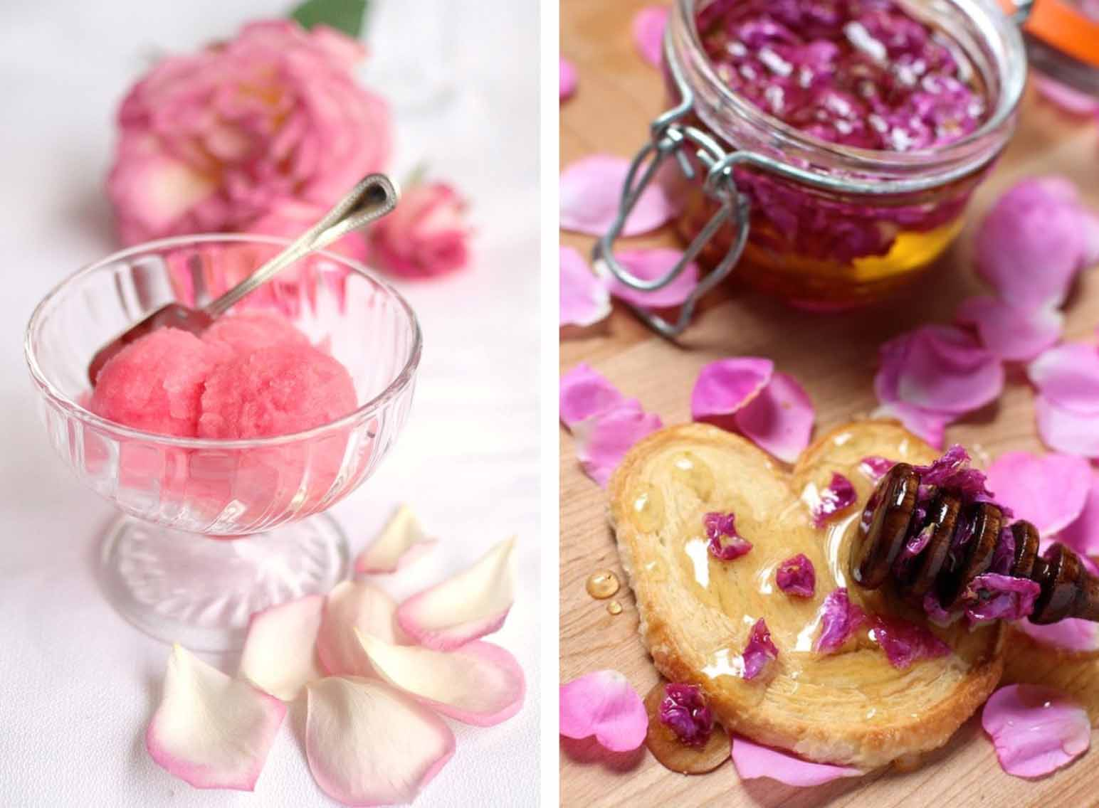 Rose Sorbet & Rose Honey - Rose Recipes Round Up via @PagingSupermom