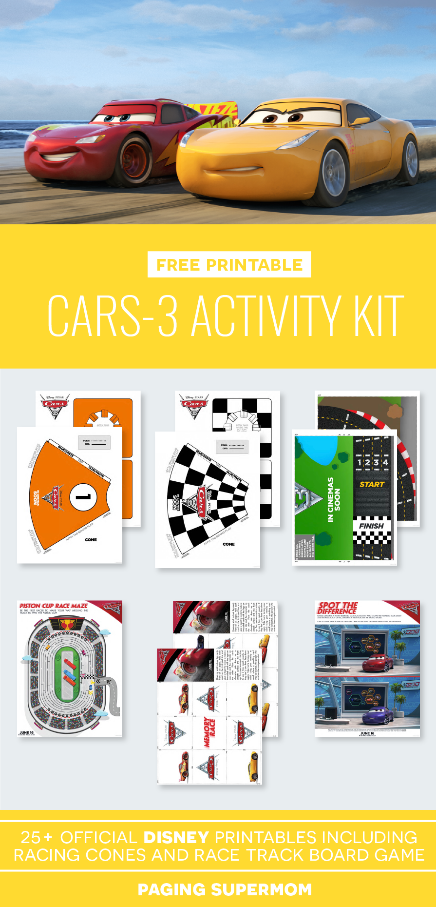 Cars 3 Printable Activity Pack