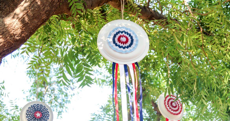 Easy July 4th Decor: Patriotic Paper Plate Pinwheels
