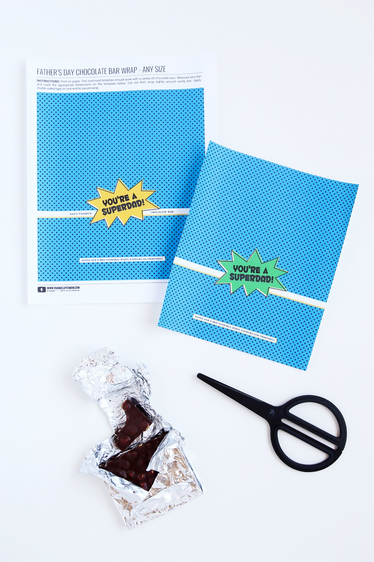 "Father's Day Candy Bar Wrap - Free Printable ""Super Dad"" template from @PagingSupermom"