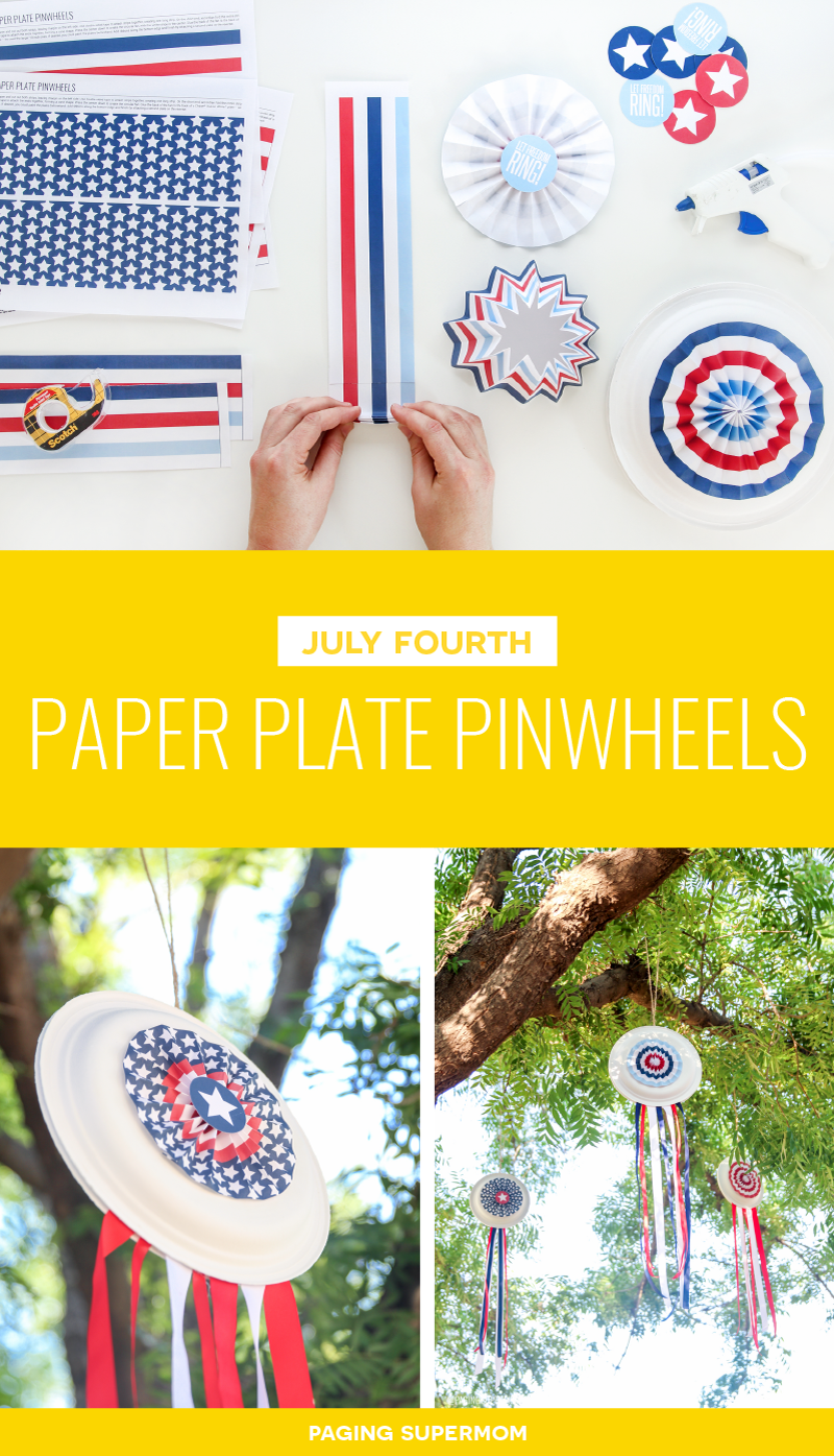 Easy July 4th Decor - Paper Plate Pinwheels with FREE template from @PagingSupermom