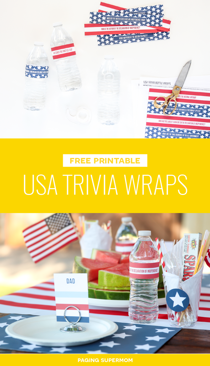 July 4th Water Bottle Labels with USA Trivia - free printable from @PagingSupermom