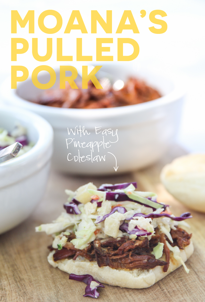 Moana Dinner Ideas: Easy Crock Pot Pulled Pork w/ Pineapple Coleslaw via @PagingSupermom