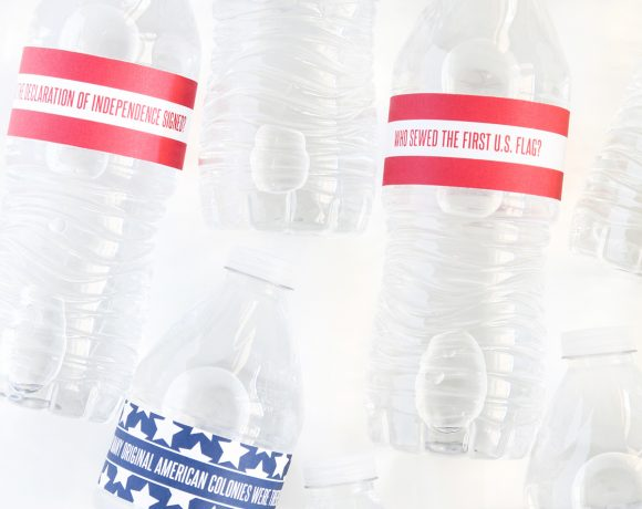 July 4th USA Trivia Water Bottle Wraps