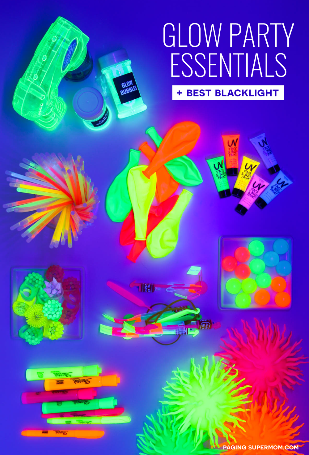 The ULTIMATE Blacklight Party Guide - glowing decor ideas, glowing food ideas, the BEST blacklight, and the coolest glow-in-the-dark party favors via @PagingSupermom