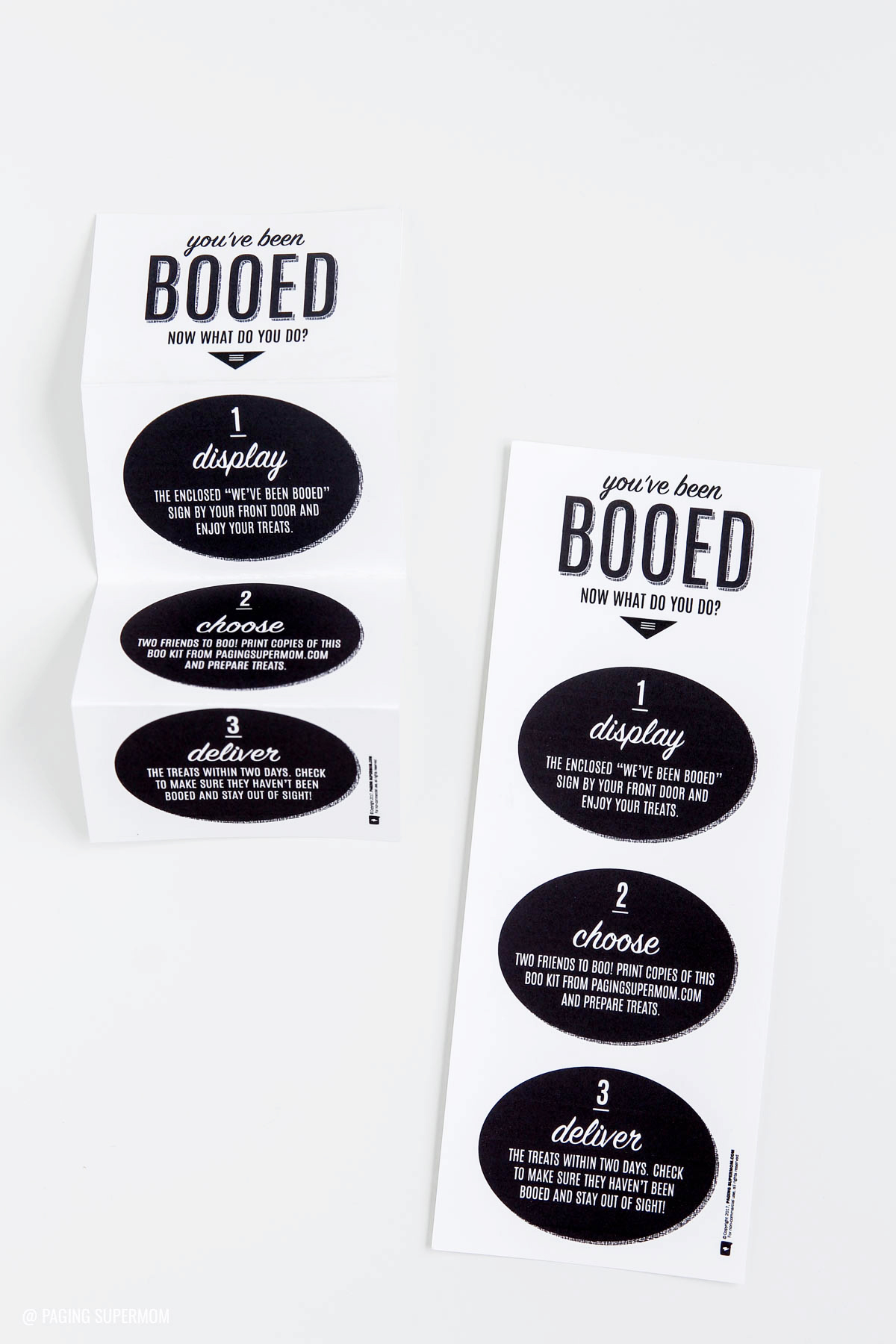 "Love these ""You've Been Booed! Now What?"" instructions from @PagingSupermom's FREE Neighborhood Booing Kit"