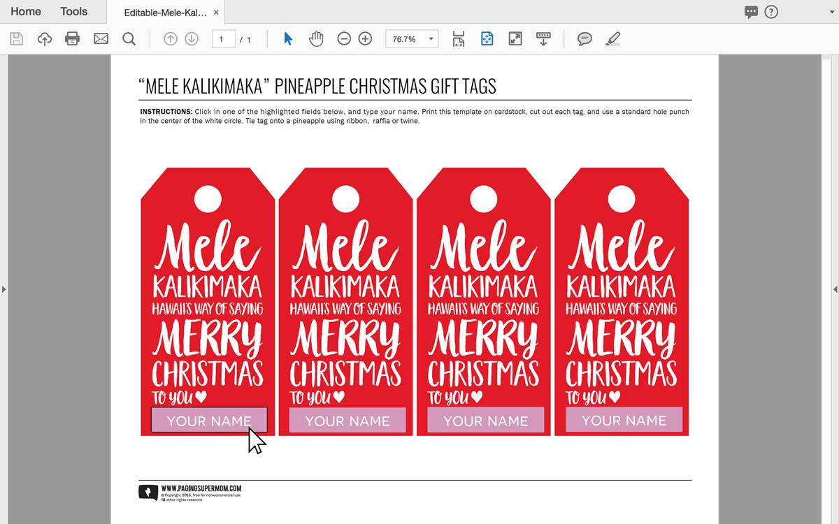 """Free EDITABLE """"Mele Kalikimaka"""" Pineapple Christmas Gift Tag via @PagingSupermom"""