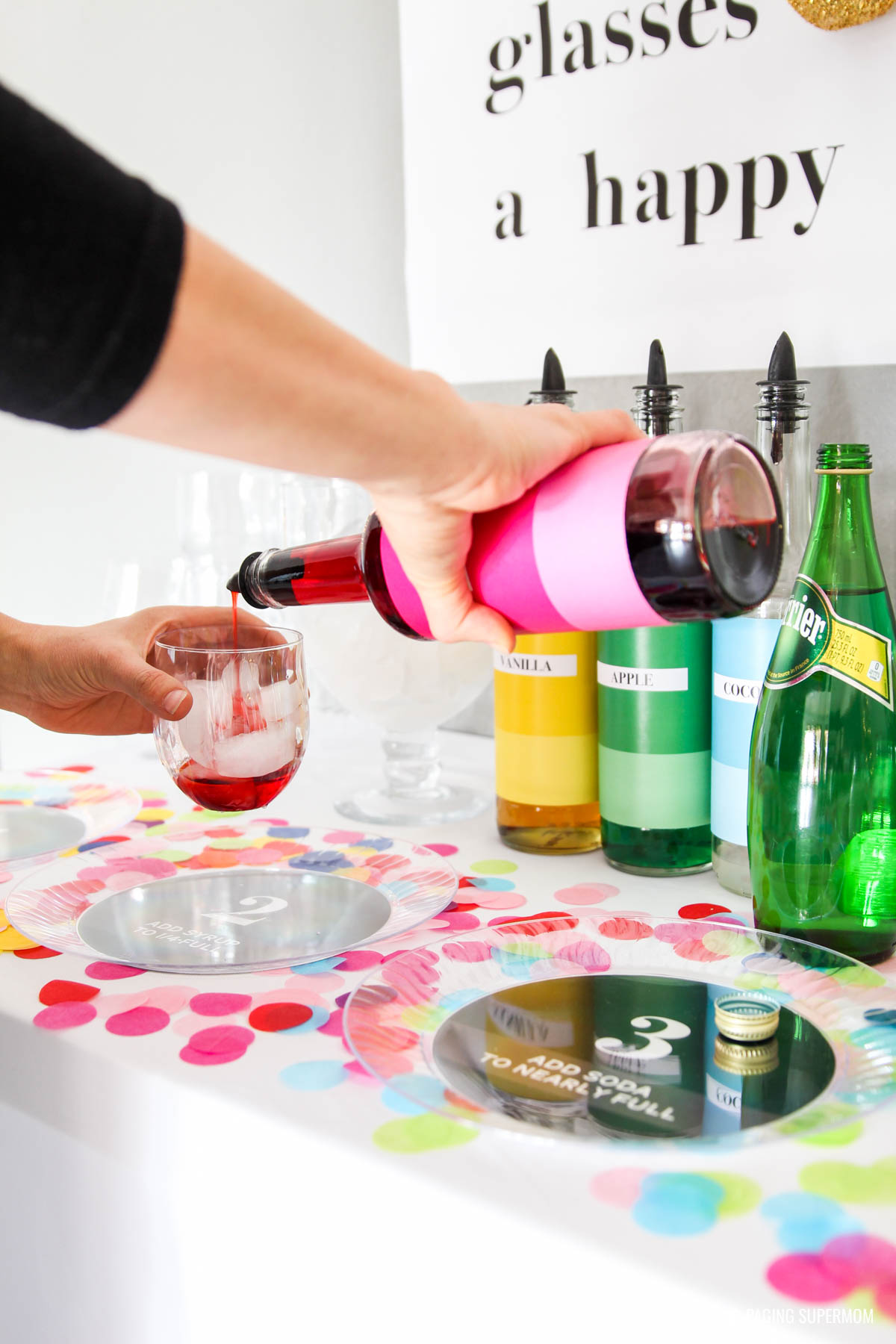 Colorful Italian Soda Bar - free printables for making this Kate-Spade inspired soda bar via @PagingSupermom. Lots of fun kid-friendly New Year's Eve party ideas