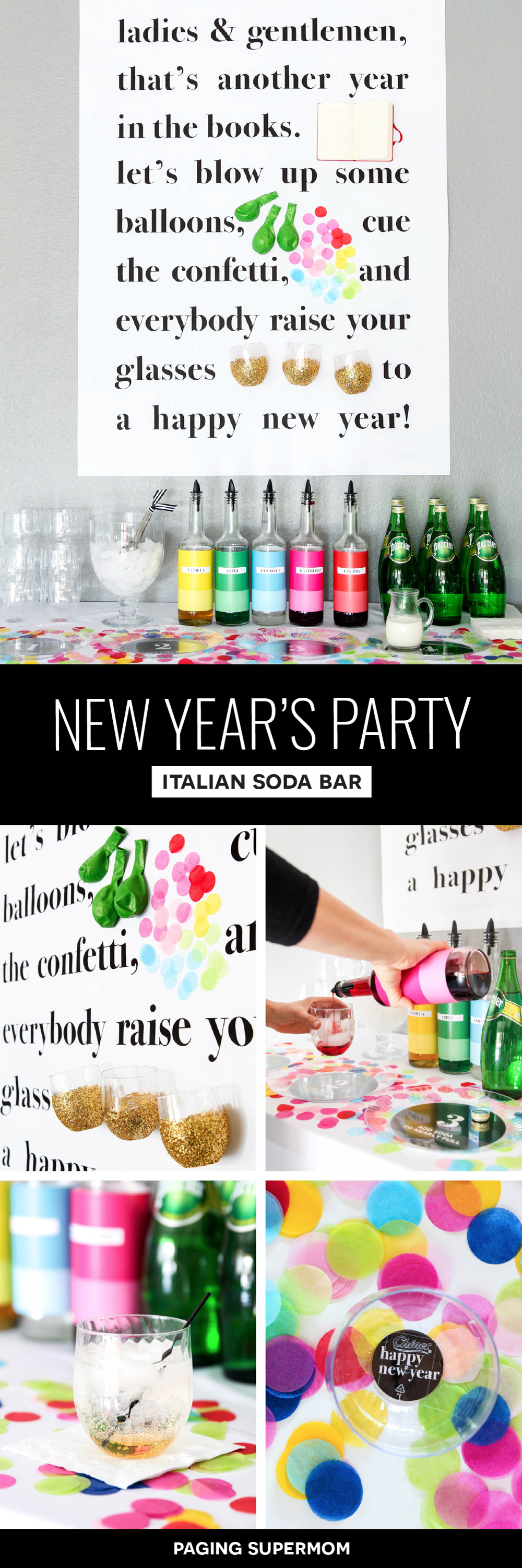 Colorful New Year's Eve Party Ideas inspired by Kate Spade's Story Wall + free printables for a family-friendly New Year's Eve Italian Soda Bar via @PagingSupermom