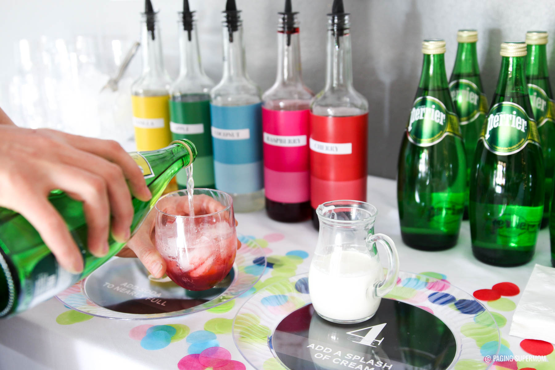 Colorful Italian Soda Bar - free printables for making this Kate-Spade inspired soda bar via @PagingSupermom plus lots of family-friendly New Year's party ideas