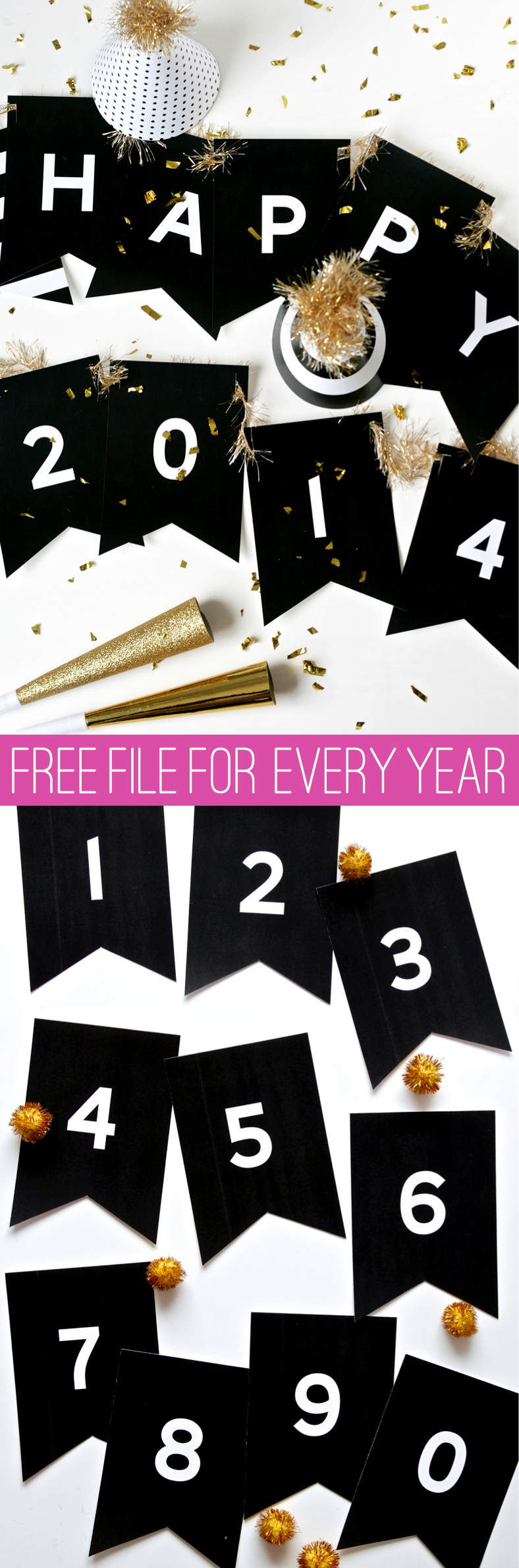 Free Printable New Year's Banner with ALL POSSIBLE YEARS! Get the template @PagingSupermom