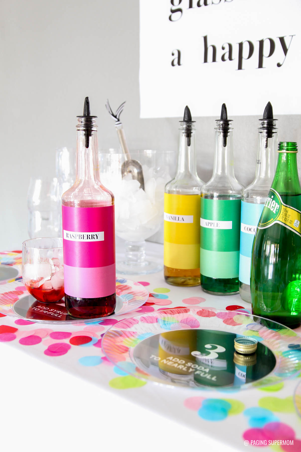 Kid-Friendly New Years Party Ideas with a Free Printable Italian Soda Bar