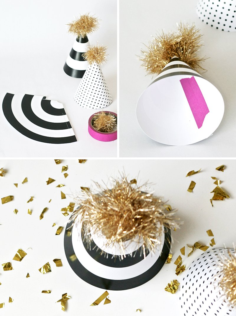 Kate Spade-inspired Free Printable Black and White Stripe Party hats template -- perfect for New Year's Eve via @PagingSupermom