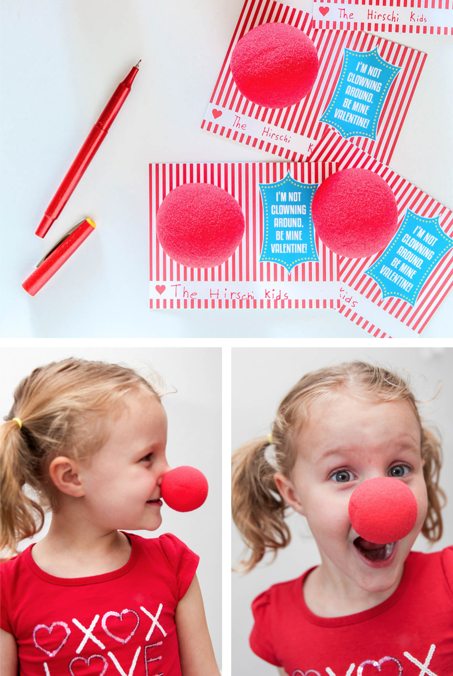 Funny Kids Valentines with Red Circus Clown Noses. Get the FREE printable template @PagingSupermom