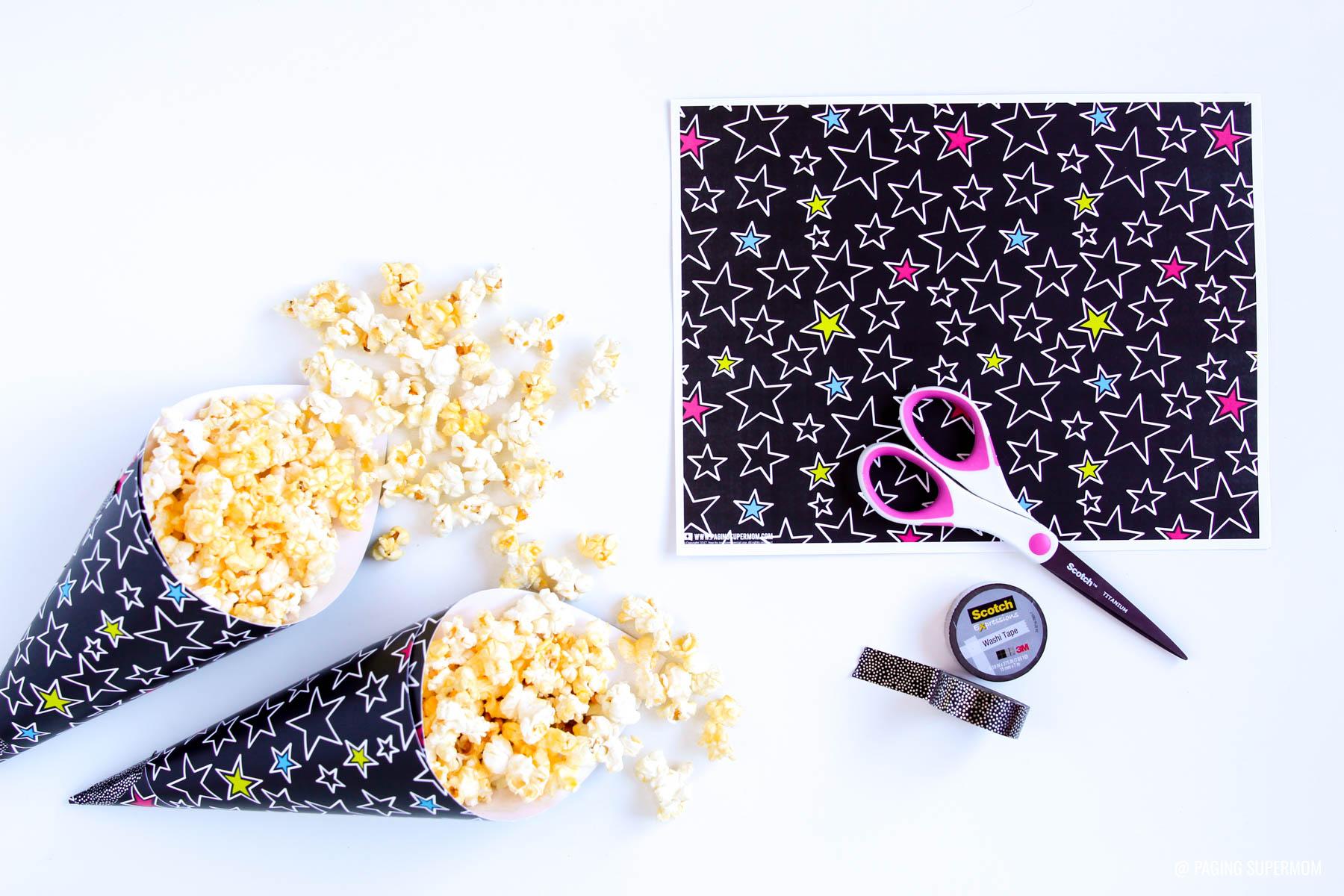 Free Printable Star Print & how to make easy Popcorn cones via @PagingSupermom