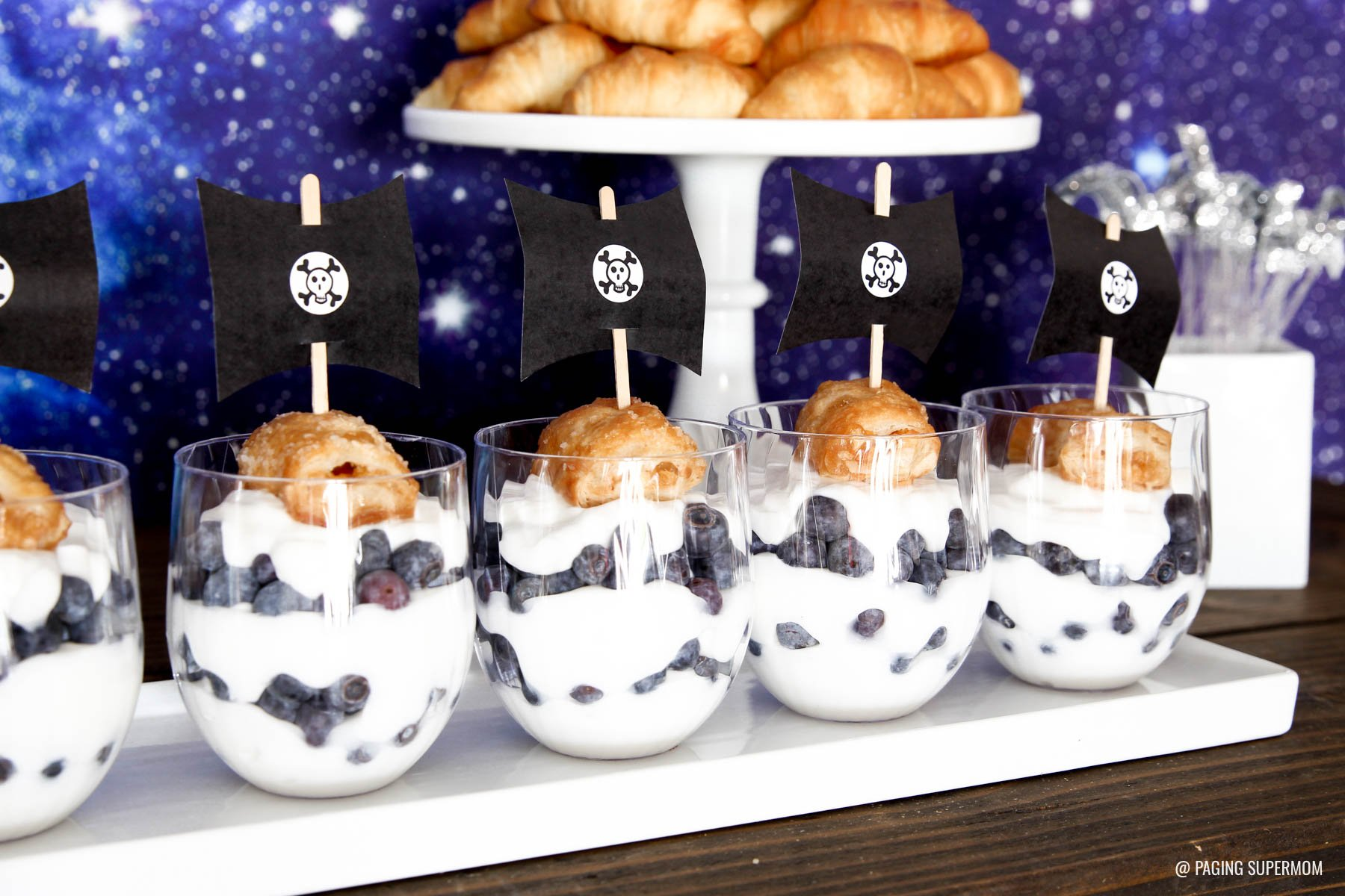 Pirate Ship Parfaits for a Peter Pan Neverland Baby Shower via @PagingSupermom