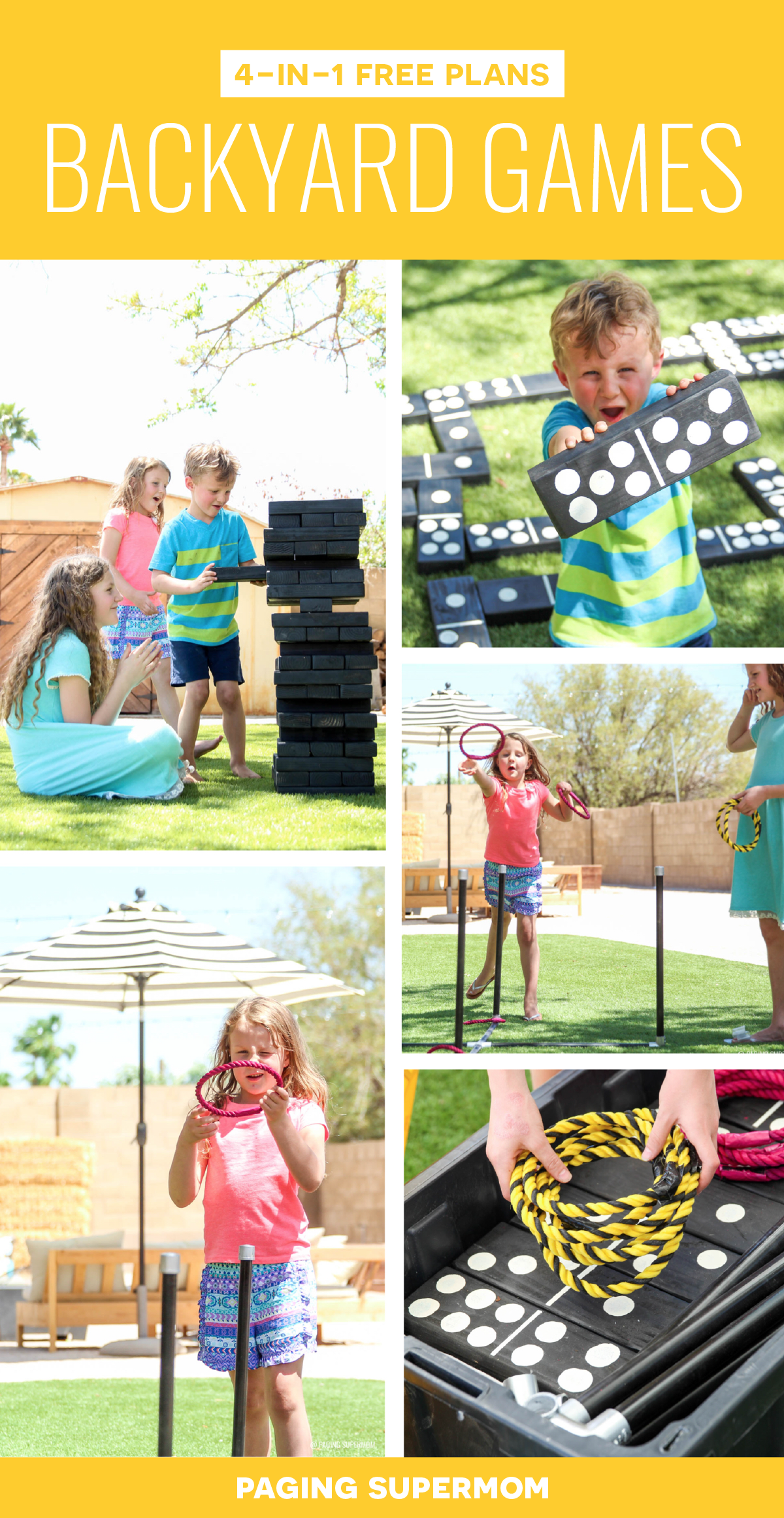 Set of 4-in-1 DIY Backyard Games plans from @HomeDepot via @PagingSupermom