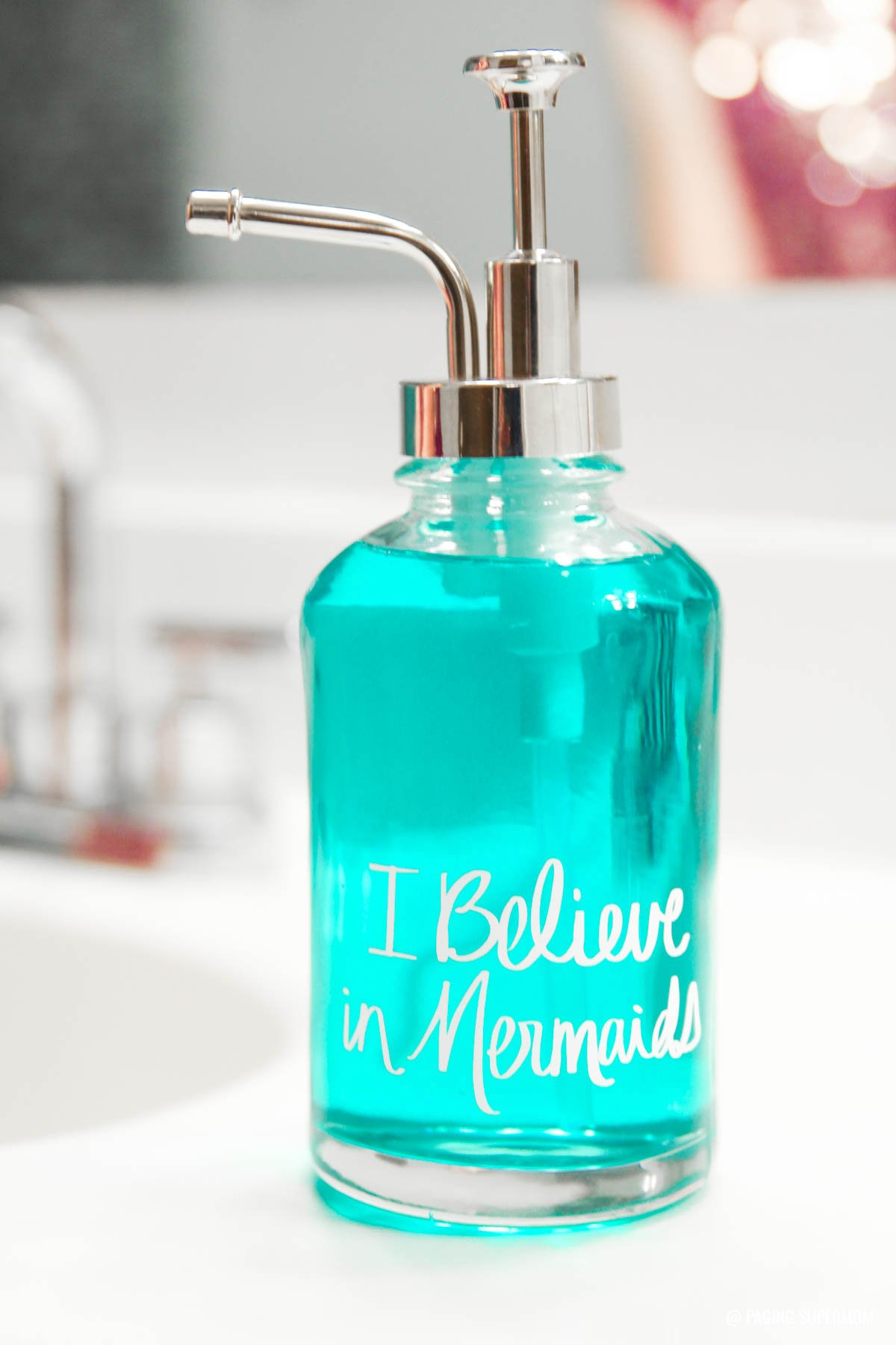 Mermaids Bathroom Decor ideas. See how to make this easy DIY Mermaid Soap Pump via @PagingSupermom