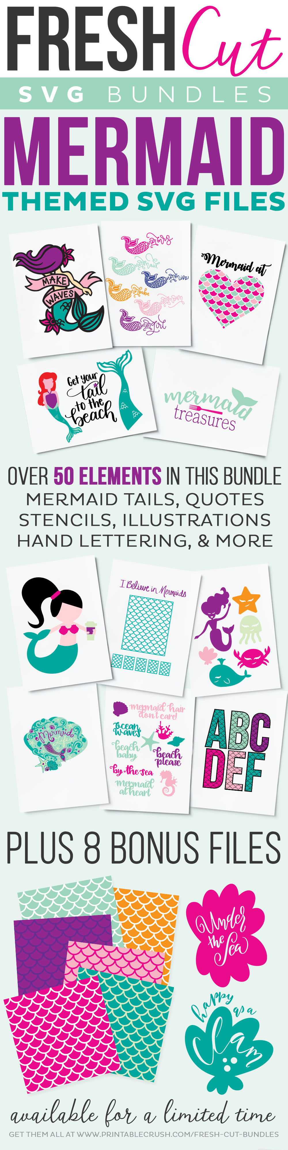 Fresh Cuts Mermaids SVG Cut Files. Get this bundle for a limited time via @PagingSupermom