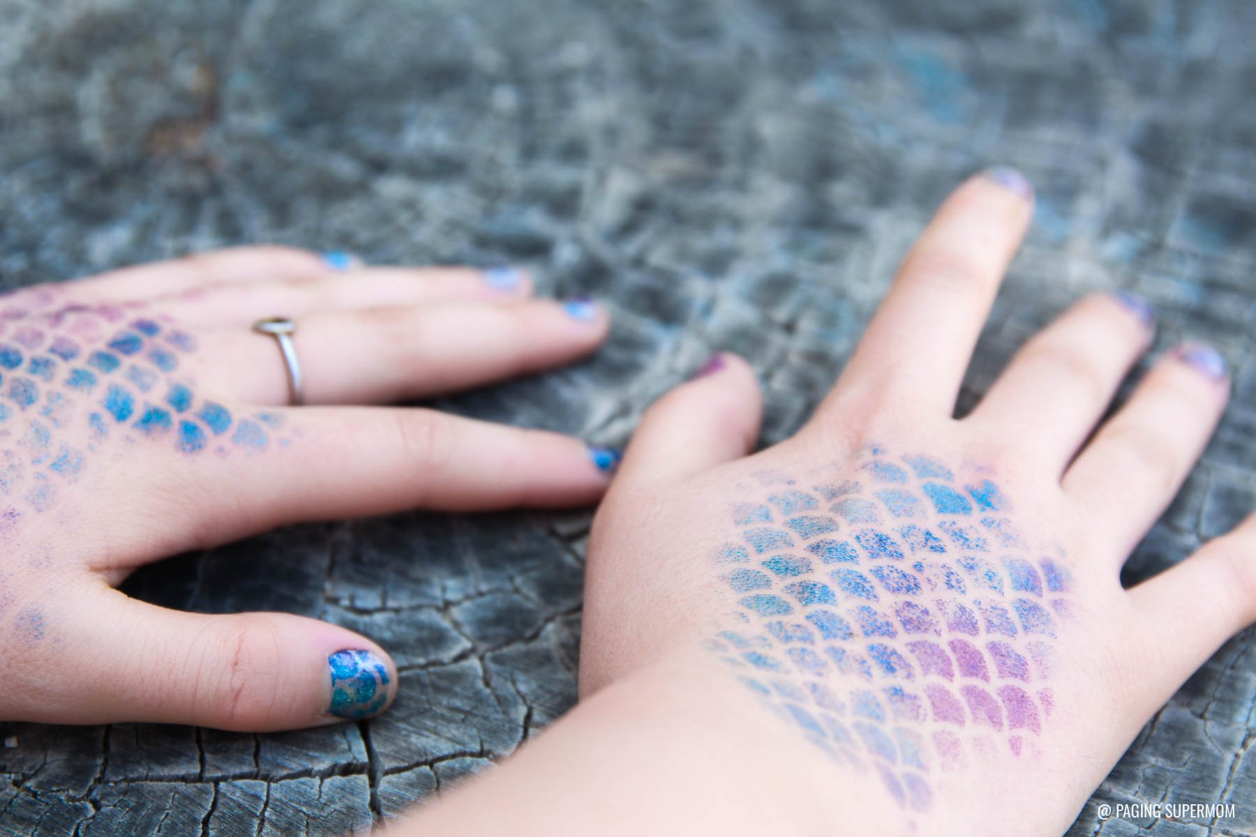 Mermaid Manicure using Cricut cut stencil. Tutorial via @PagingSupermom