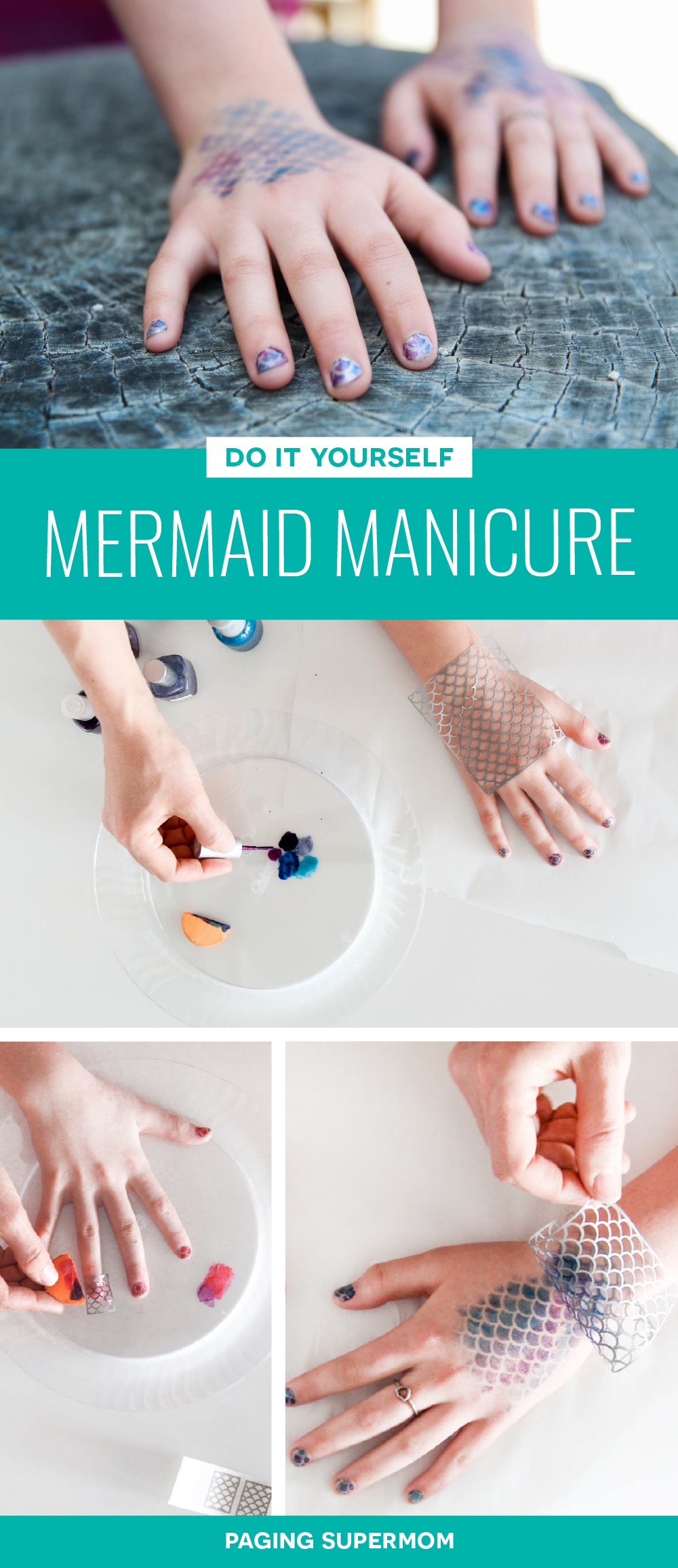 How to Do a Mermaid Manicure with Mermaid Nails and Mermaid Scales Temporary Tattoos on your hands. Photo Tutorial via @PagingSupermom