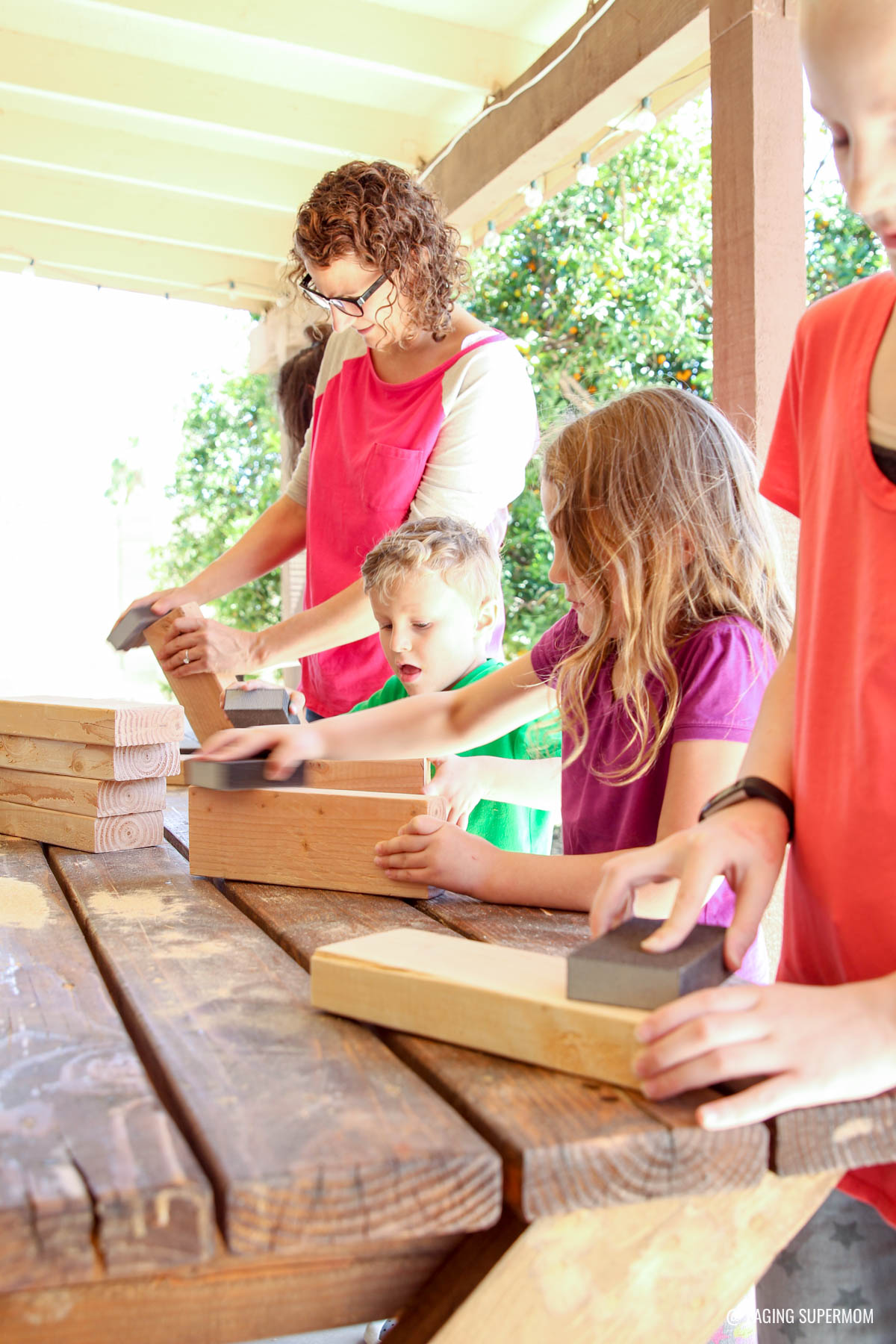 Sanding Giant Jenga-Inspired Stacking Game @HomeDepot via @PagingSupermom