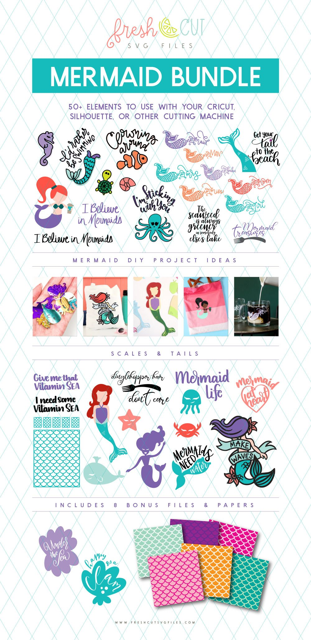 Mermaids SVG cut files bundle available for a limited time via @PagingSupermom
