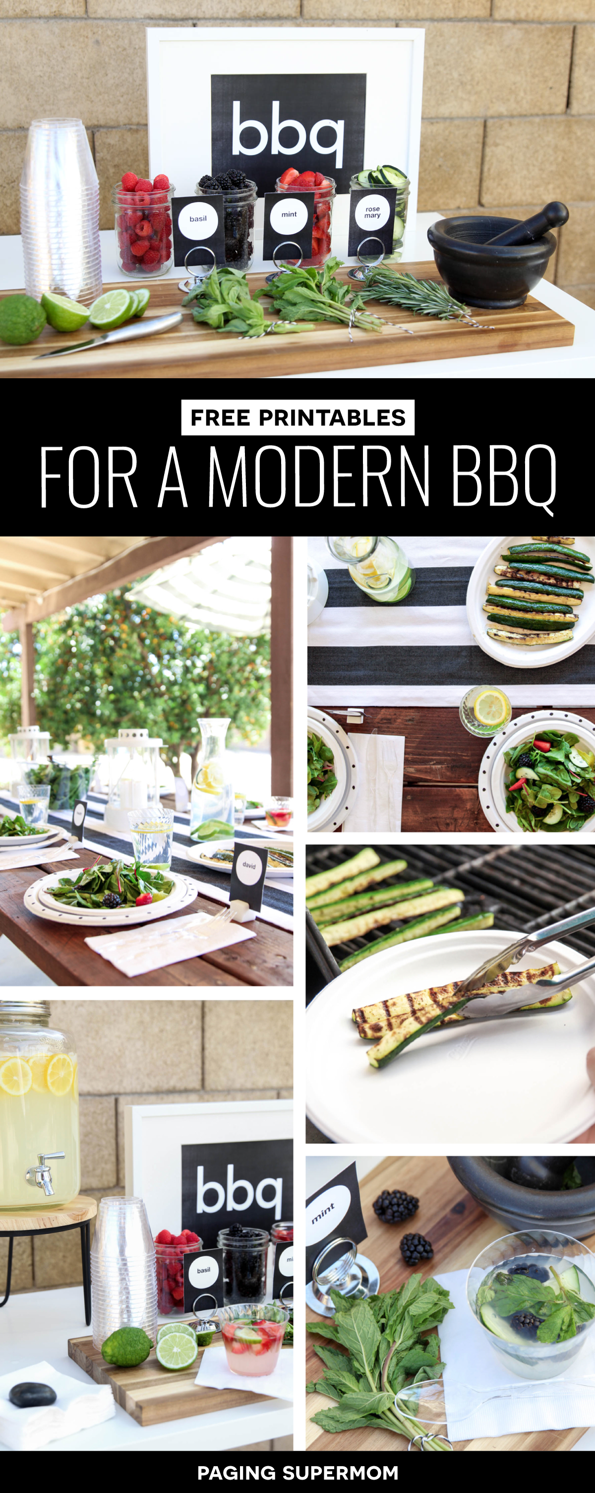 Free Printable kit for a Modern Summer BBQ - love the black and white decor and gourmet Lemonade Bar via @PagingSupermom