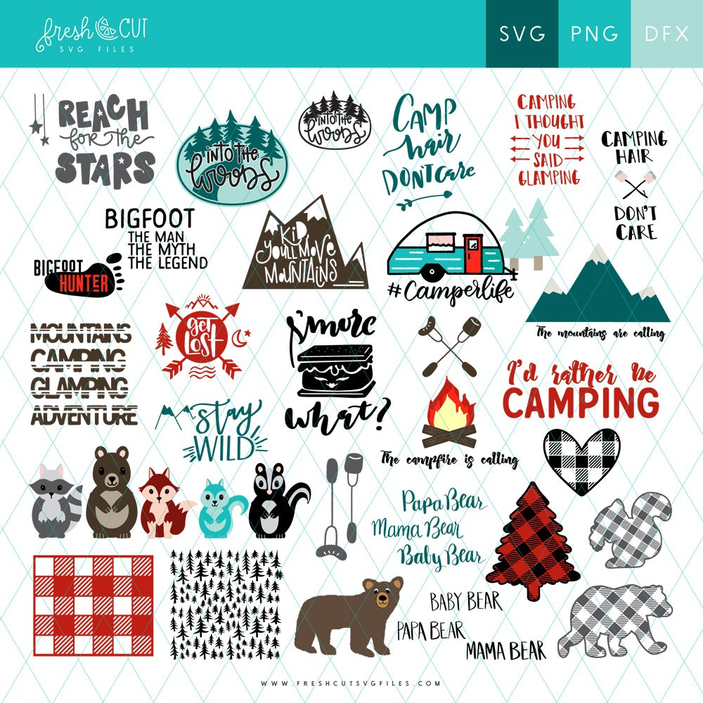 Adorable Camping themed SVG files bundle via @PagingSupermom