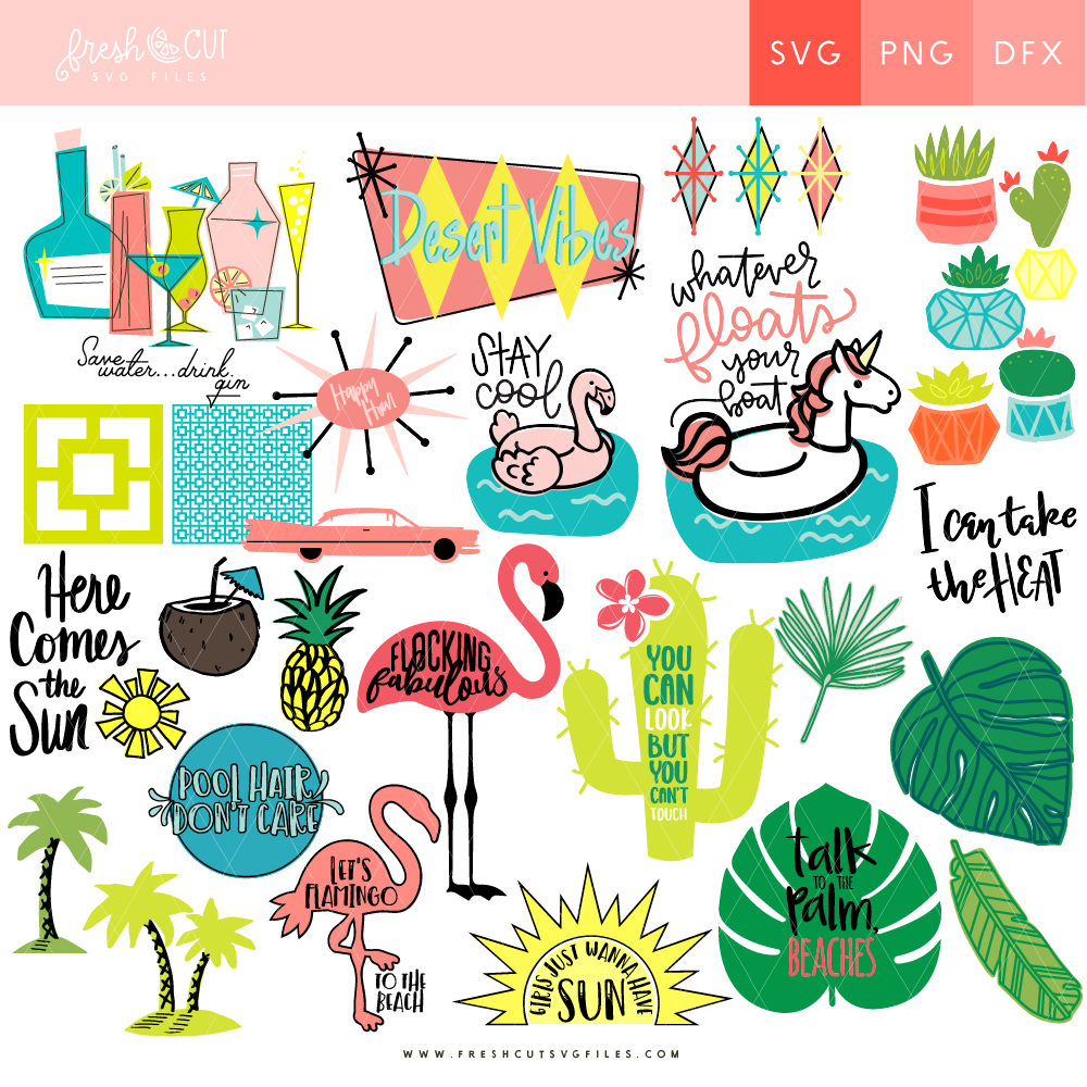 Palm Springs SVG Fresh Cuts Bundle full of 50+ SVG Cut Files with a cool desert vibe via @PagingSupermom