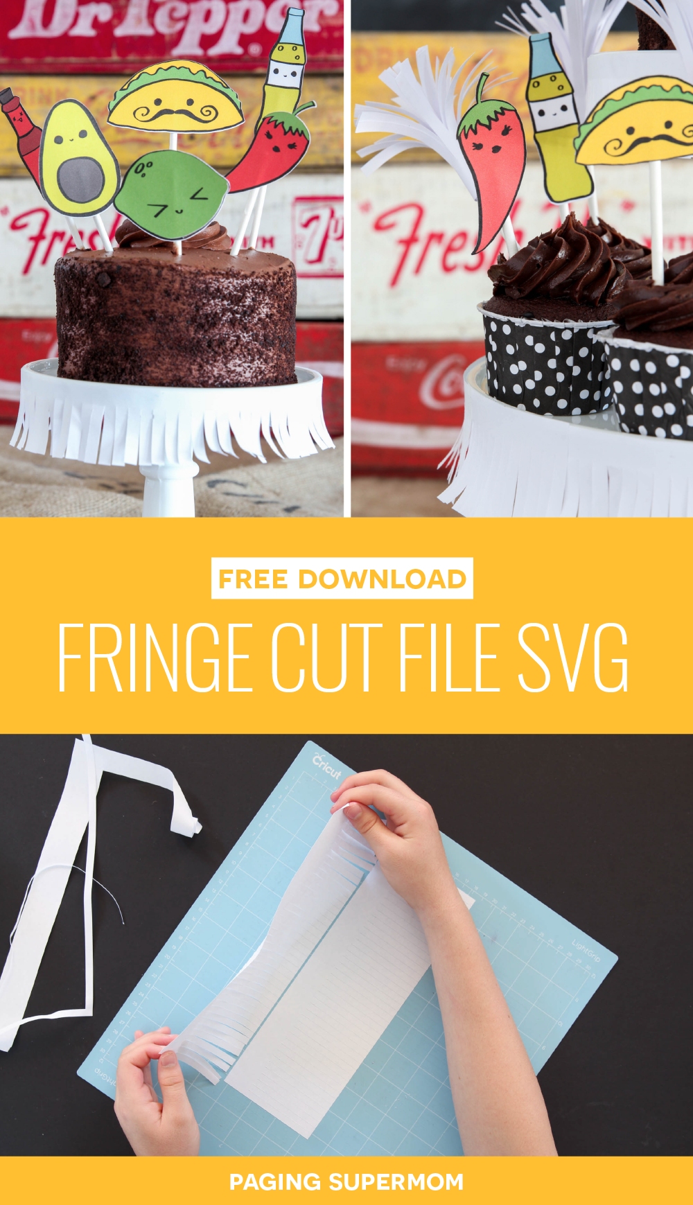 Super-Easy DIY Fringe Cake Stand with FREE Cut File - SVG to use with Cricut or other Cutting Machine for easy Fiesta Decor via @PagingSupermom