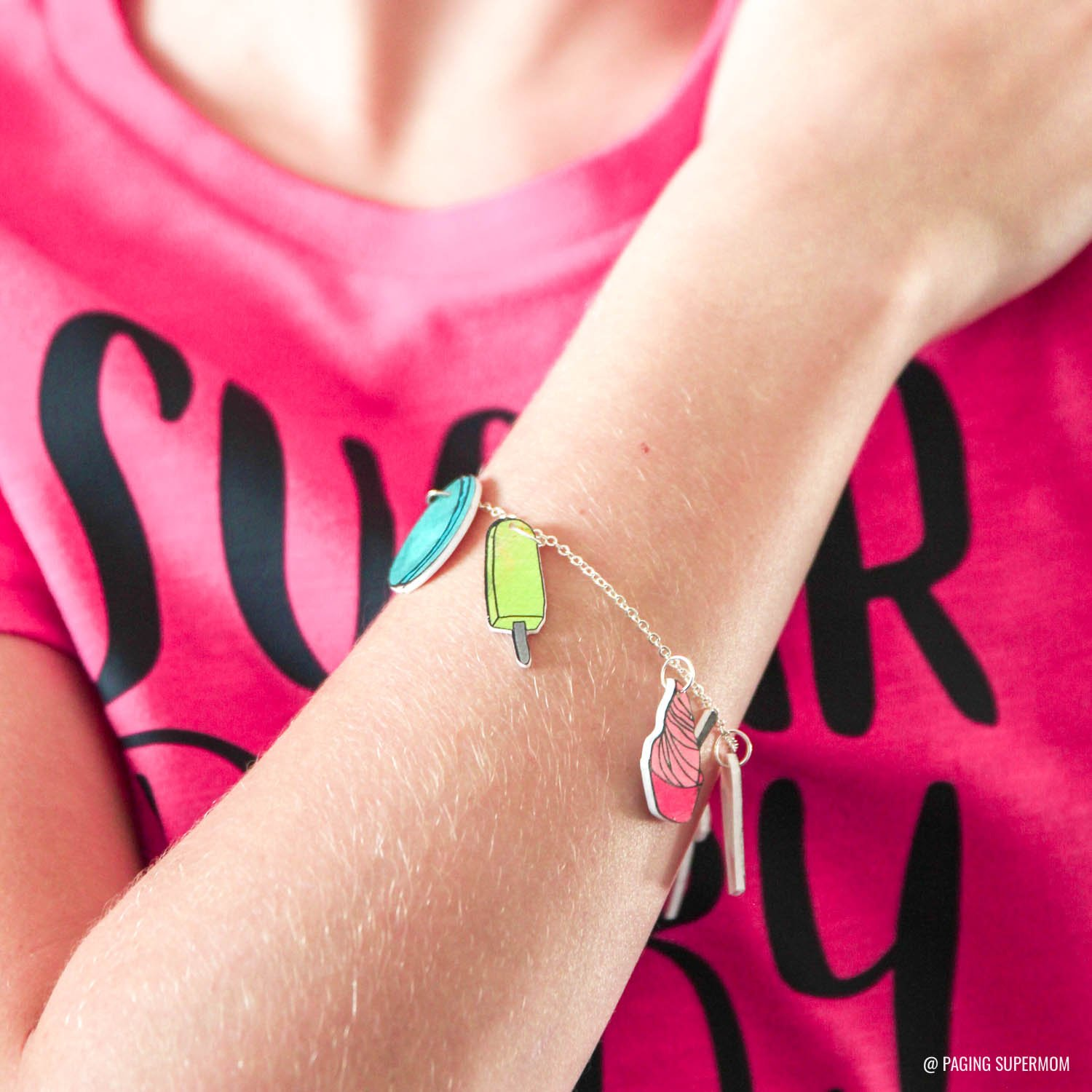 DIY Shrinky Dinks Charm Bracelet + how to cut Shrinky Dinks with Cricut via @PagingSupermom