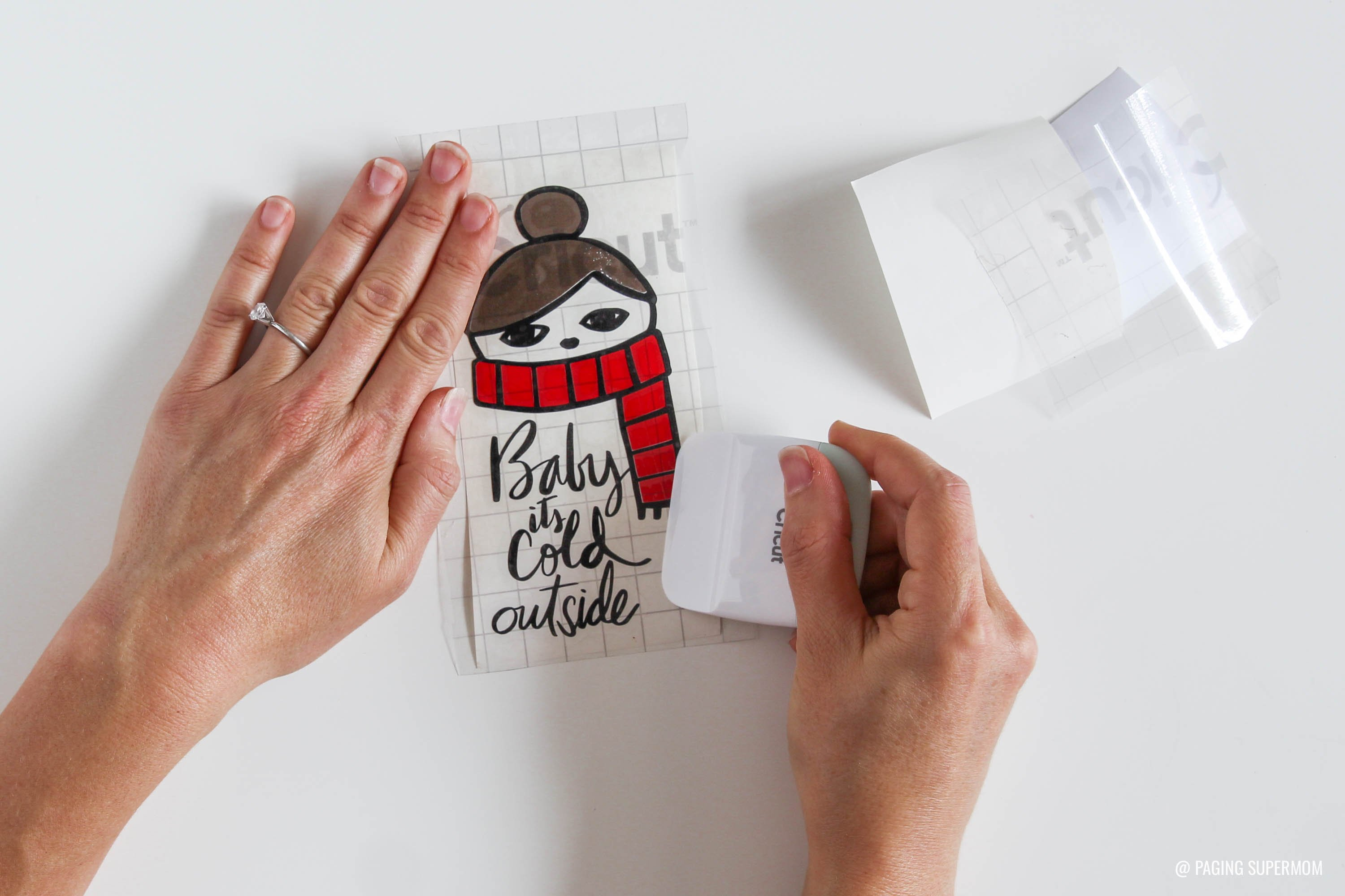Baby Its Cold Outside Layered Vinyl Decal - Vinyl Layering Cricut Design Space Tutorial via @PagingSupermom
