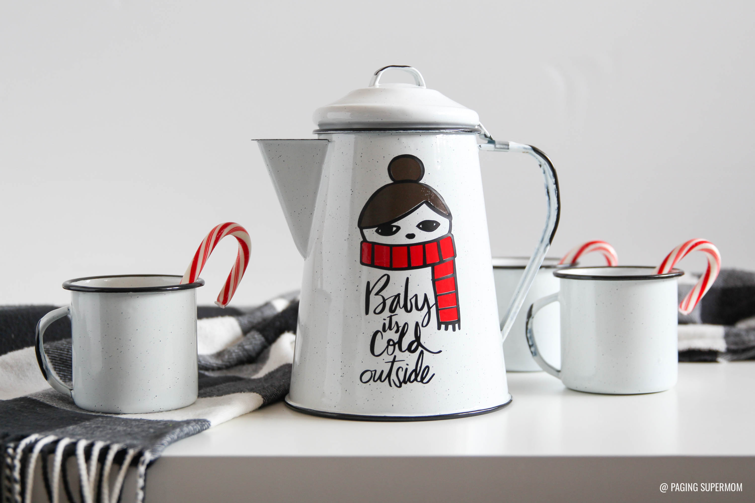 Baby It's Cold Outside - Hot Cocoa Kettle and Mug Set - DIY Christmas Gift Ideas via @PagingSupermom