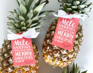 Mele Kalikimaka Pineapple Gift Tag