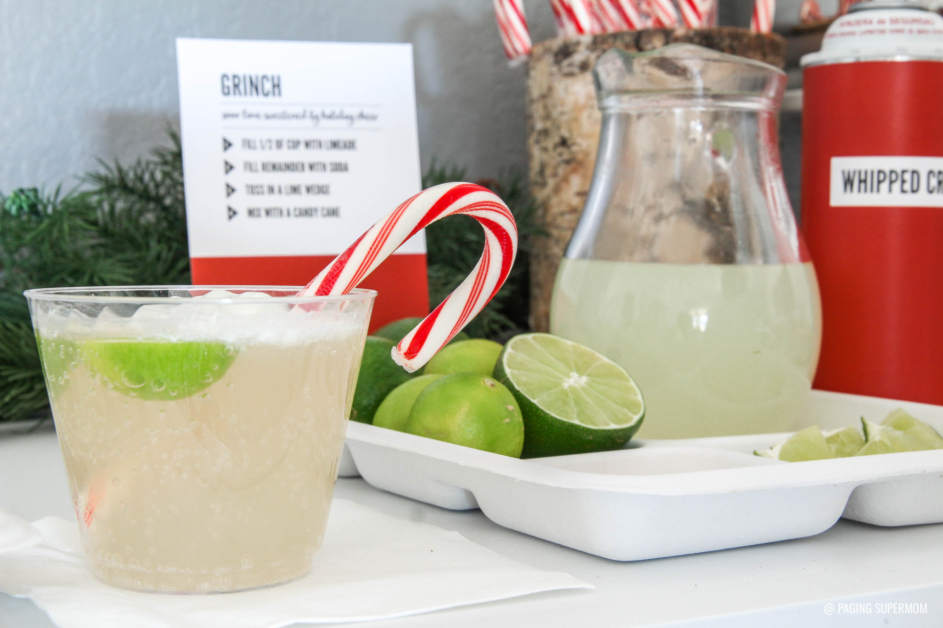 The GRINCH - Christmas Cocktails Recipe ideas with FREE Christmas Cocktails Station printable kit via @PagingSupermom